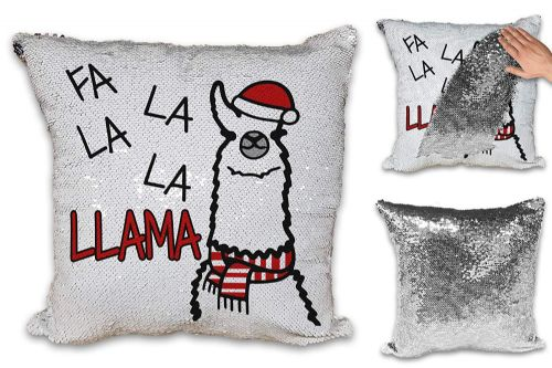 FA La Llama Funny Festive Novelty Sequin Reveal Magic Cushion Cover